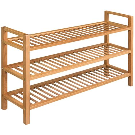 Shoe Rack with 3 Shelves 100x27x59.5 cm Solid Oak Wood
