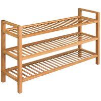 Shoe Rack with 3 Shelves 100x27x59.5 cm Solid Oak Wood