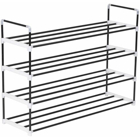 Shoe Rack with 4 Shelves Metal and Plastic Black