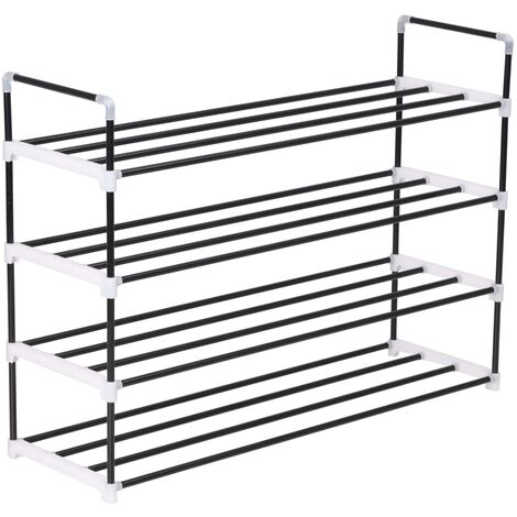 Shoe Rack Metal and Plastic Black with 4 Shelves