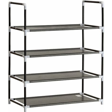 Shoe rack with 4 shelves - shoe shelf, shoe organiser, boot rack - black