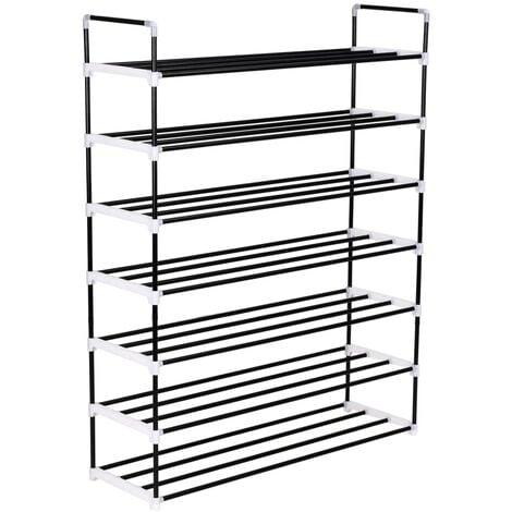 Shoe Rack with 7 Shelves Metal and Plastic Black - Black