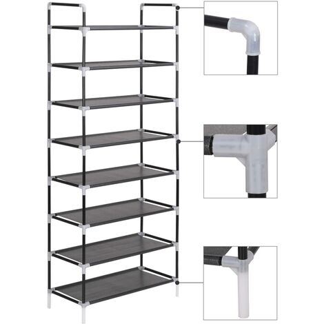 Shoe Rack with 8 Shelves Metal and Non-woven Fabric Black - Black