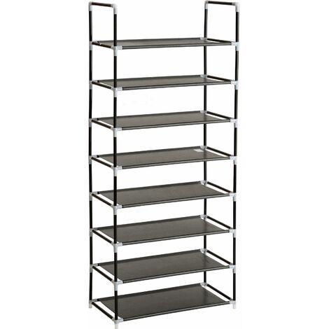 Shoe rack with 8 shelves - shoe shelf, tall shoe rack, shoe organiser - black - black