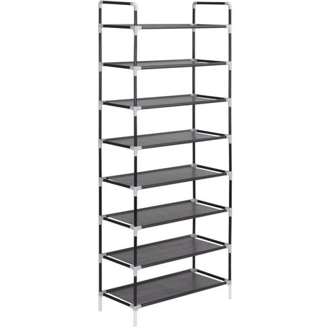 Shoe Rack with 8ShelveMetal and Non-woven Fabric Black