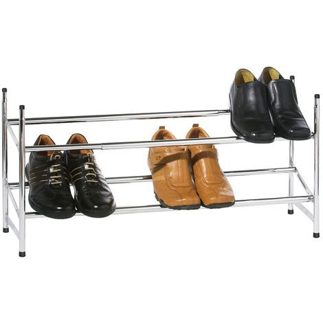 Shoe Rack,2 Tier,Extendable/Stackable Chrome Frame