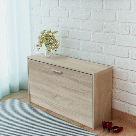 Shoe Storage Bench Oak 80x24x45 cm