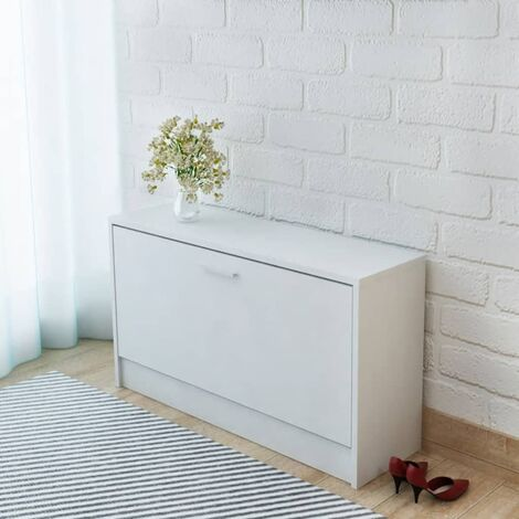 Shoe Storage Bench White 80x24x45 cm - White