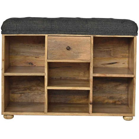 Shoe Storage Bench With Upholstered Black Tweed Seat