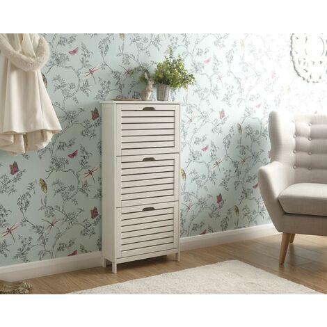 "main image of ""Shoe Storage Cabinet 3 Tier White Slatted Cupboard Doors Scandanavian Style"""