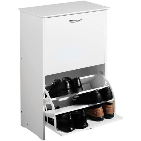 Shoe Storage Cupboard,White Finish MDF,Holds up to 18 pairs