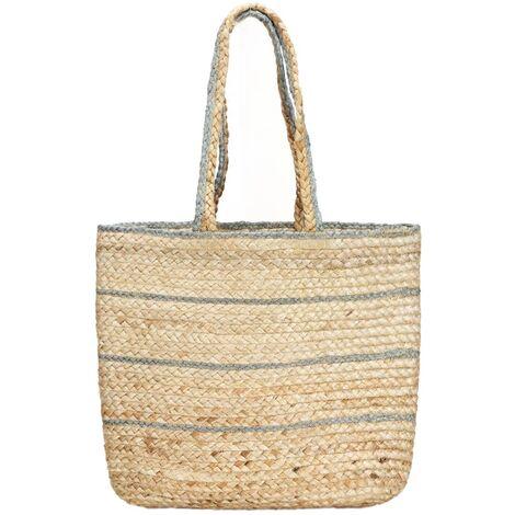 Shopper Bag Natural with Olive Green Stripe Handmade Jute