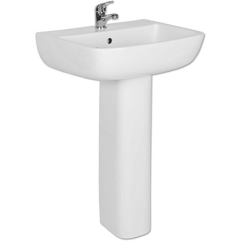 Short Projection Bathroom Pedestal 520mm Basin Compact Cloakroom Single Tap Hole Sink