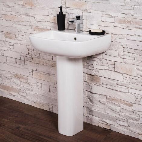 Short Projection Bathroom Pedestal 520mm Basin Compact Cloakroom Single Tap Hole Sink
