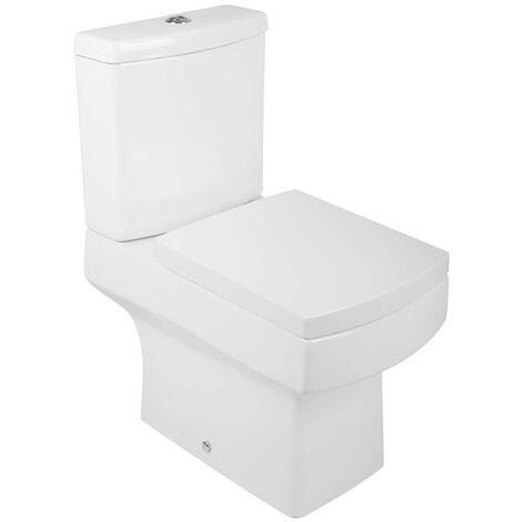 Short Projection Close Coupled Bathroom Toilet Cistern with Soft Close Seat Cloakroom WC