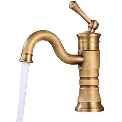 Short Retro Antique Brass Basin Sink Tap Faucet Single Lever