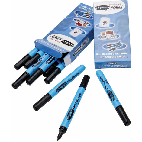 Show-me Dry Wipe Pens Black Fine - Pack of 10