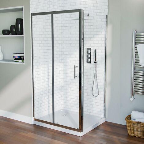 Shower 1000mm Sliding Door with 700 mm Frameless Glass Side Panel Screen