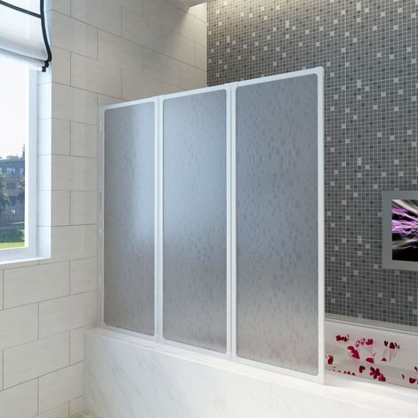 Shower Bath Screen Wall 117 x 120 cm 3 Panels Foldable
