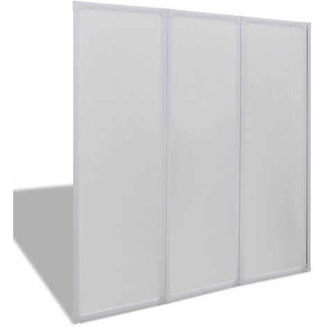 Shower Bath Screen Wall 117 x 120 cm 3 Panels Foldable QAH03703