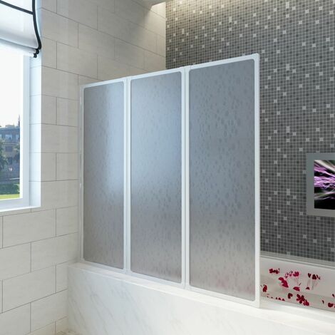 Shower Bath Screen Wall 117 x 120 cm 3 Panels Foldable VDTD03703