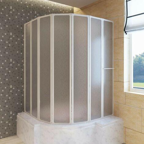 Shower Bath Screen Wall 140 x 168 cm 7 Panels Foldable with Towel Rack