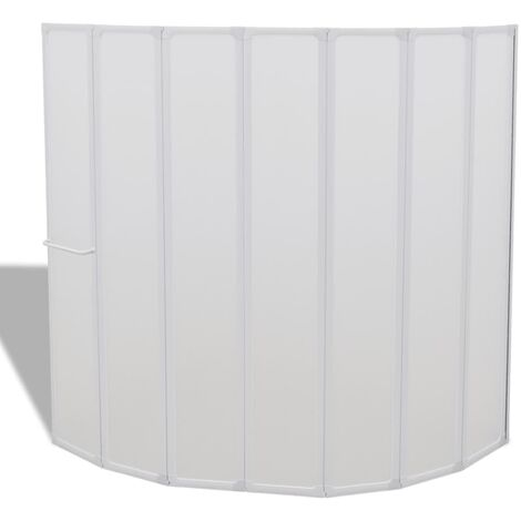 Shower Bath Screen Wall 140 x 168 cm 7 Panels Foldable with Towel Rack