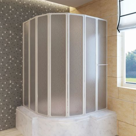 Shower Bath Screen Wall 140 x 168 cm 7 Panels Foldable with Towel Rack VD03705