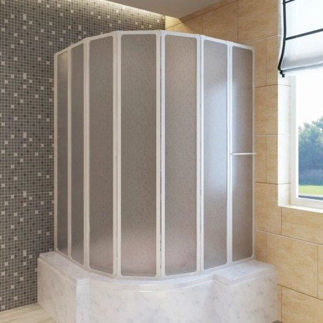 Shower Bath Screen Wall 140 x 168 cm 7 Panels Foldable with Towel Rack VDTD03705