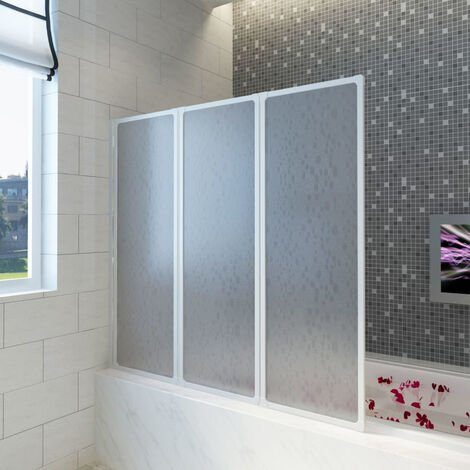 Shower Bath Screen Wall 141 x 132 cm 3 Panels Foldable