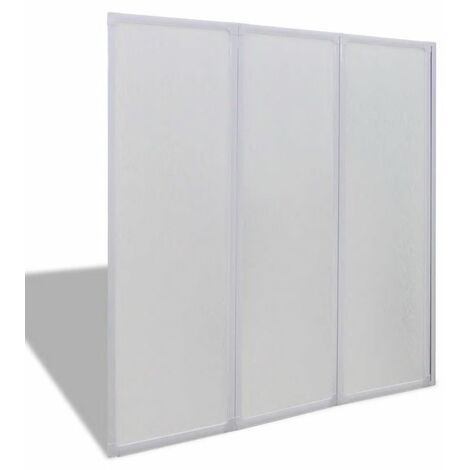 Shower Bath Screen Wall 141 x 132 cm 3 Panels Foldable QAH03704