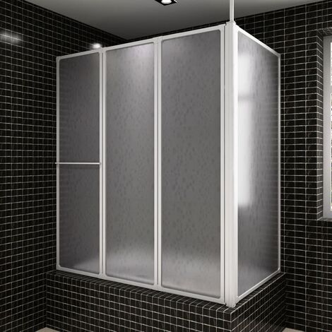 Shower Bath Screen Wall L Shape 70 x 120 x 140 cm 4 Panels Foldable