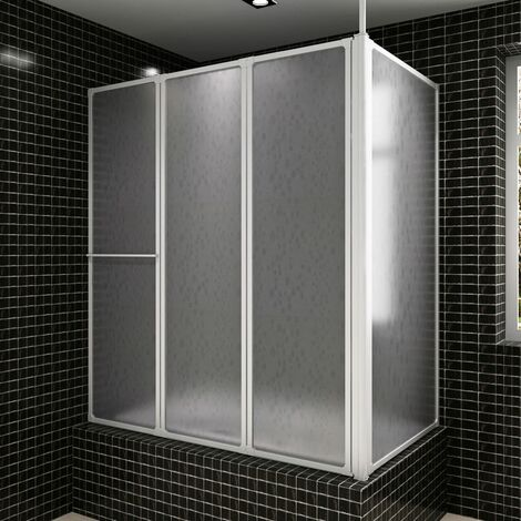 Shower Bath Screen Wall L STopdeal 70 x 120 x 140 cm 4 Panels Foldable VDTD03706