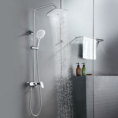 Shower Column with Mixer, 3 Functions Shower System with Shower Head and Hand Shower, 83 ~ 110 cm Adjustable Bar Chrome Shower Columns