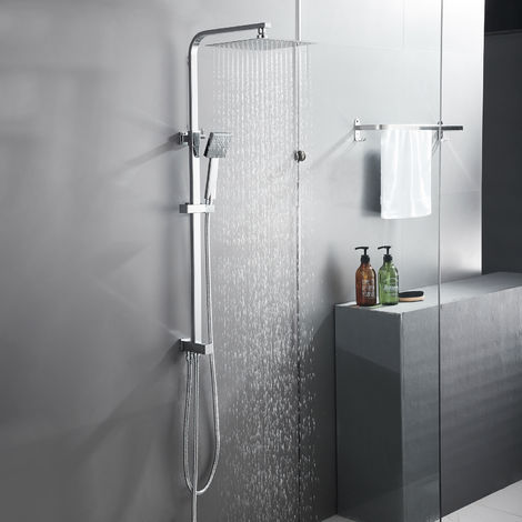 Shower Column without Faucet, Shower System with Large Square Shower Rain System and Hand Shower, Height adjustable 700 ~ 1250 mm, Chrome