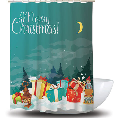 Shower Curtain Christmas Decoration Bath Curtains Waterproof Polyester