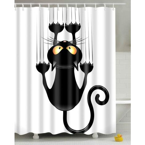 Shower Curtain DIY Funny Novelty Cat Print Waterproof Bathroom Drape, Mildew Proof Curtain with Hooks - Different sizes available
