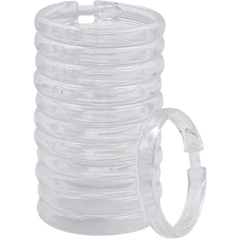 """main image of """"Shower Curtain Rings, 12 Packs, Plastic Clear Shower Curtain Hooks Round O Rings Hook Hanger for Bathroom Shower Window Rod"""""""