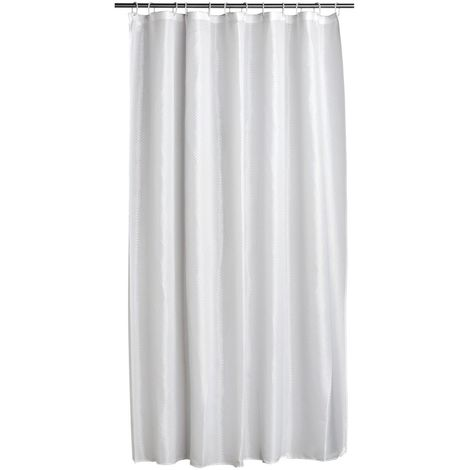Shower Curtain,White Polyester,12 Rings