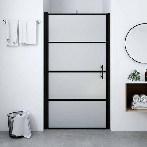 Shower Door Frost Tempered Glass 91x195 cm Black