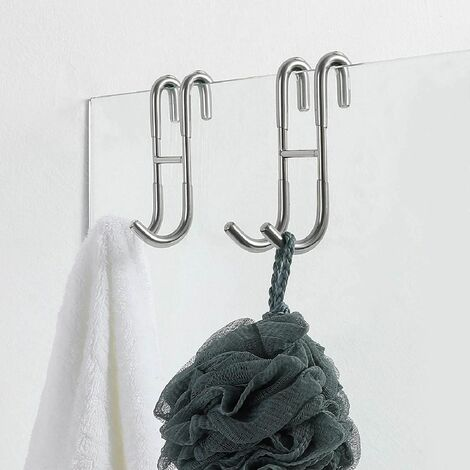 Shower Door Hooks (2-Pack), Over Door Hooks for Bathroom Frameless Glass Shower Door, Towel Hooks, Shower Squeegee Hooks