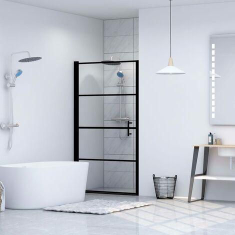 Shower Door Tempered Glass 100x178 cm Black