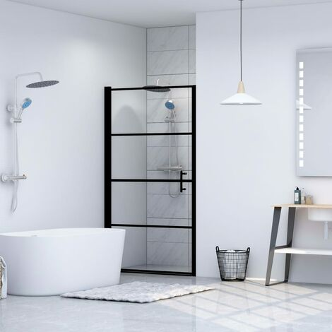 Shower Door Tempered Glass 100x178 cm Black
