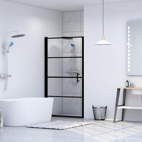 Shower Door Tempered Glass 81x195 cm Black