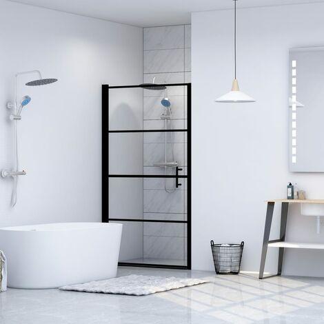 Shower Door Tempered Glass 91x195 cm Black