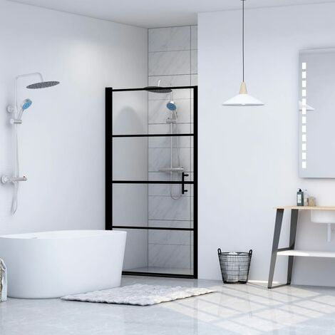 Shower Door Tempered Glass 91x195 cm Black