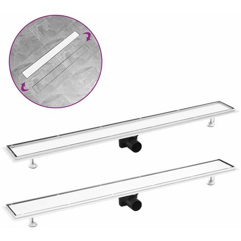 Shower Drain with 2-in-1 Cover 103x14 cm Stainless Steel