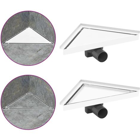 Shower Drain with 2-in-1 Cover 25x25 cm Stainless Steel