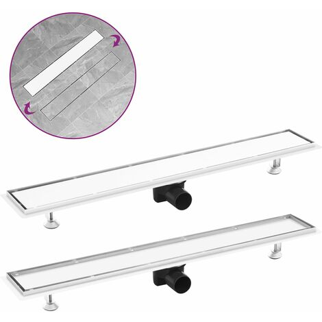 Shower Drain with 2-in-1 Cover 83x14 cm Stainless Steel