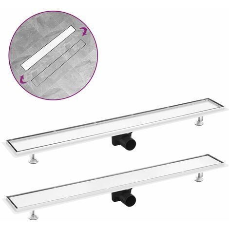 Shower Drain with 2-in-1 Cover 93x14 cm Stainless Steel